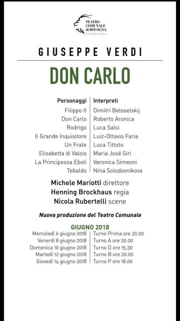 Don Carlo - Bologna 2018